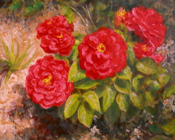 Realism Art Print featuring the painting Diane's Roses by Donelli DiMaria