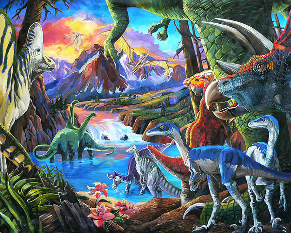 Dinosaurs Art Print featuring the painting Dinosaur by Nadi Spencer