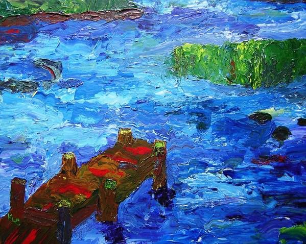 Marsh Art Print featuring the painting Dock On The Marsh by Karen L Christophersen