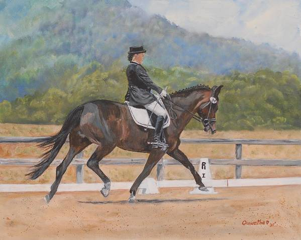 Horse Art Print featuring the painting Donnerlittchen by Quwatha Valentine