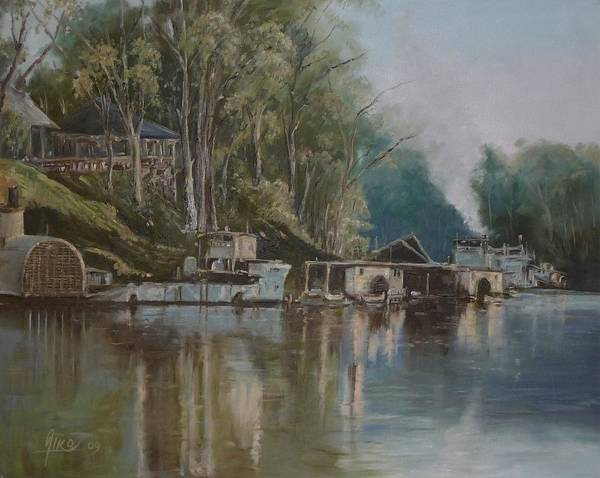 River Art Print featuring the painting Down By The River by Diko
