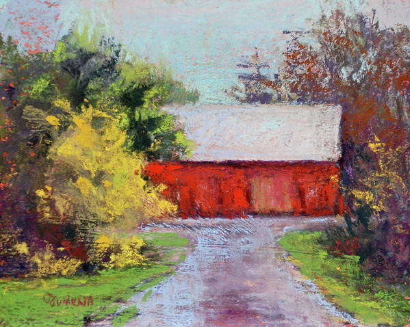 Springtime In The County Art Print featuring the pastel Down The County Road by Joyce A Guariglia