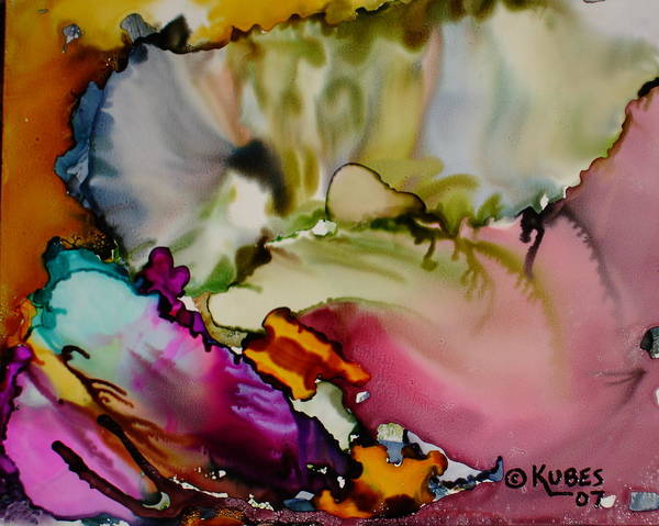Abstract Art Print featuring the painting Dreaming by Susan Kubes