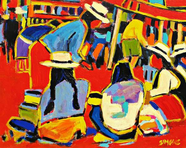Paintings Art Print featuring the painting Ecuador Street Market by Brian Simons