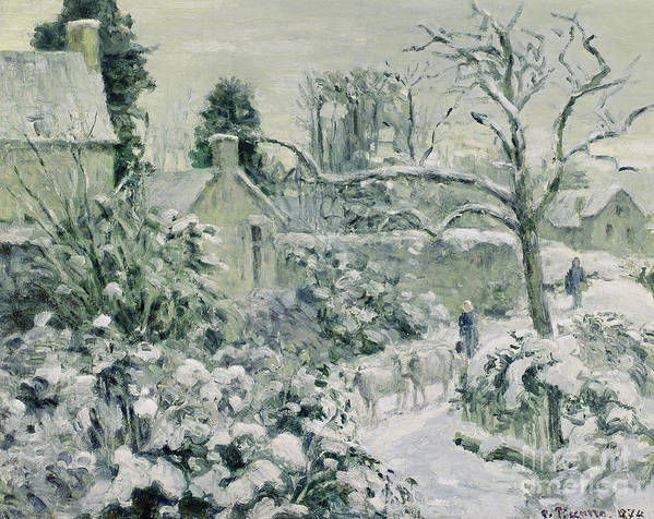 Effect Art Print featuring the painting Effect Of Snow With Cows At Montfoucault by Camille Pissarro