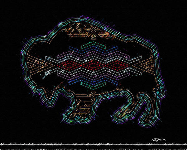 Buffalo Art Print featuring the digital art Electric Buffalo by Greg Reed Brown
