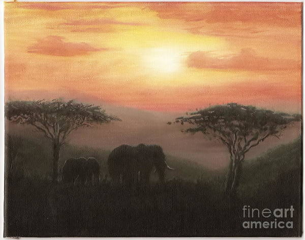 Elephants Art Print featuring the painting Elephant Sunset by Don Lindemann