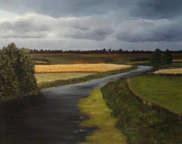 Original Landscape In Oil Art Print featuring the painting Emsland Germany by Sharon Steinhaus