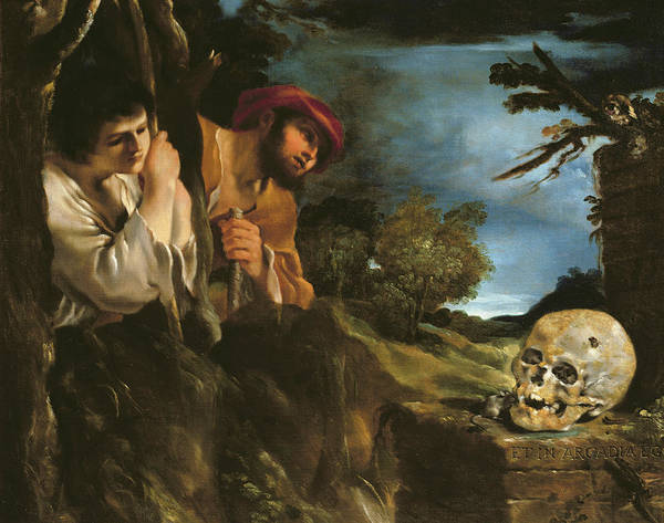 Latin Art Print featuring the painting Et In Arcadia Ego by Giovanni Francesco Barbieri