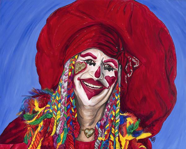 Glitter Art Print featuring the painting Eureka Springs Clown by Patty Vicknair