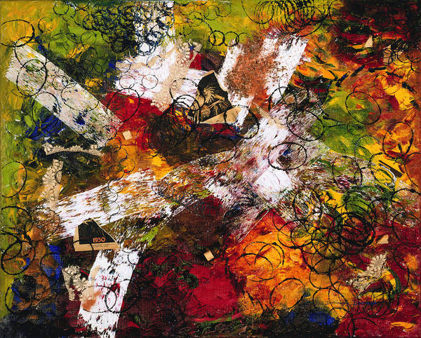 Abstract Art Print featuring the painting Evocation by Dominique Boutaud