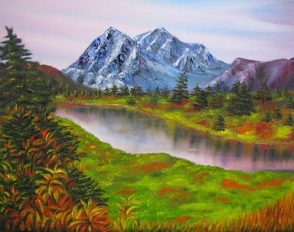 Fall Art Print featuring the painting Fall In Mountains Landscape Oil Painting by Natalja Picugina