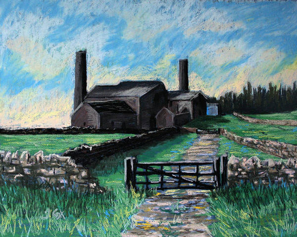 Farm. Stublick. Chimney. Landscape. Northumberland. England. Uk. Art Print featuring the painting Farm Near Hexham. by John Cox