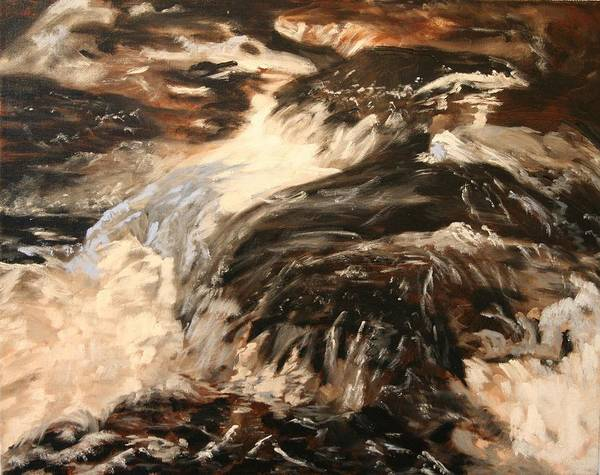Waterscape Art Print featuring the painting Fast Water by Marilyn Tower