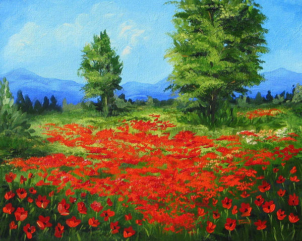 Poppy Field Art Print featuring the painting Field Of Poppies IIi by Torrie Smiley