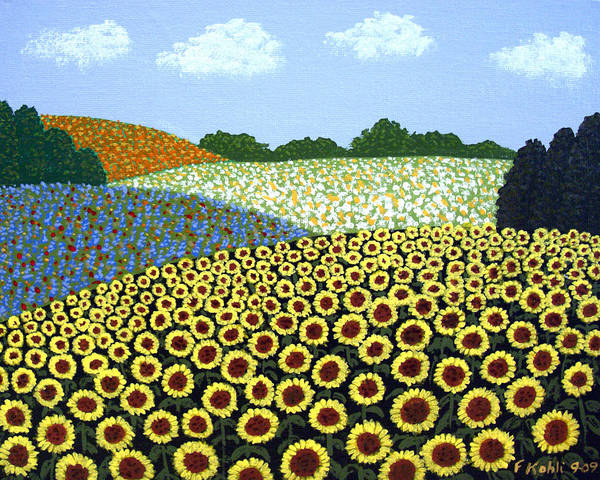 Landscape Paintings Art Print featuring the painting Field Of Sunflowers by Frederic Kohli