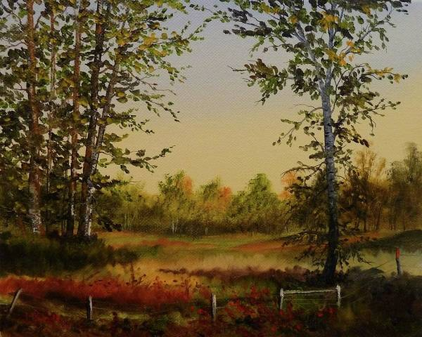 Judy Bradley Art Print featuring the painting Fields And Trees by Judy Bradley