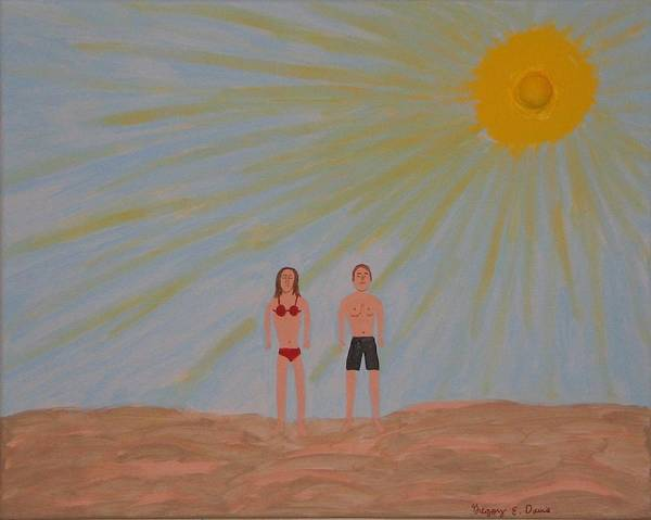 Sun Art Print featuring the painting Fine Sunny Day by Gregory Davis