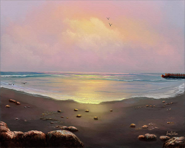 Ocean Art Print featuring the painting Fishermen's Cove by Sena Wilson