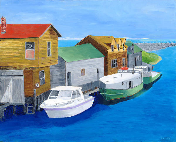 Fishtown Art Print featuring the painting Fishtown by Rodney Campbell
