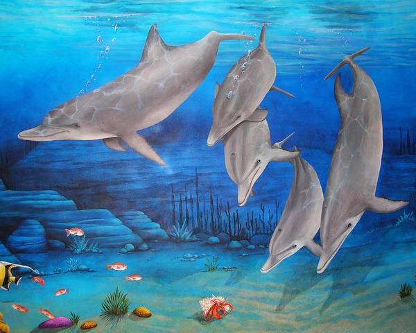 Dolphin Art Print featuring the painting Five Friends by Cindy D Chinn