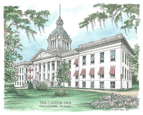 Florida Print featuring the drawing Florida Capitol 1902 by Audrey Peaty