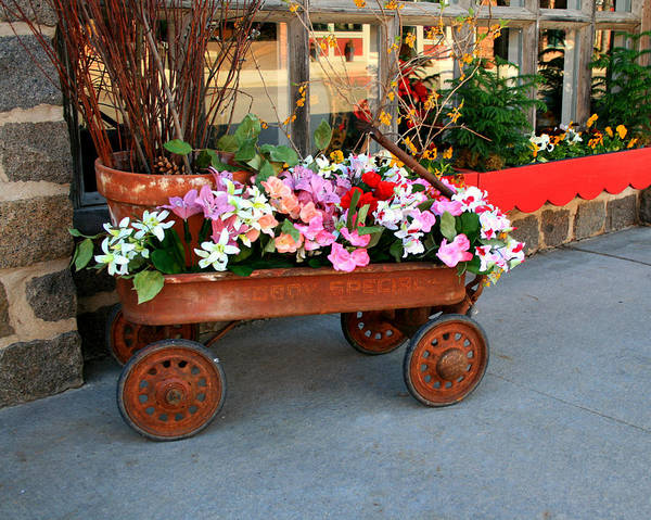 Wagon Art Print featuring the photograph Flower Wagon by Perry Webster