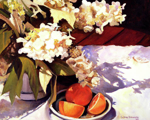 Still Life With Flowers And Fruit Art Print featuring the painting Flowers And Oranges by Eva Ramanuskas