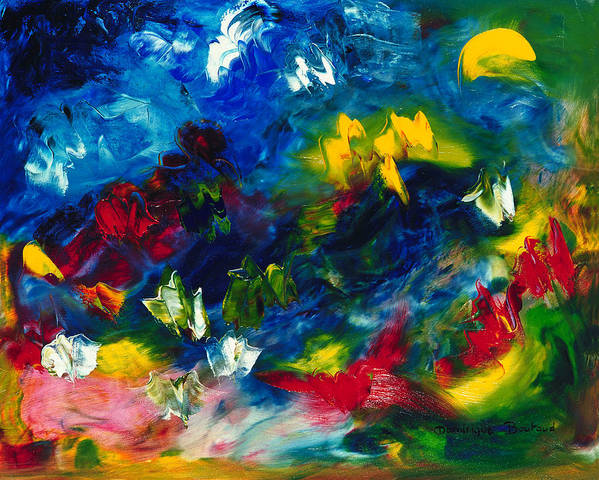 Abstract Art Print featuring the painting Fly by Dominique Boutaud