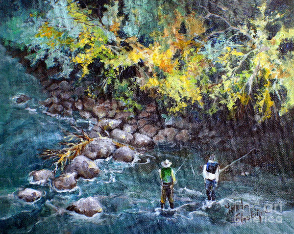 Fishing Art Print featuring the painting Fly Fishing by Linda Shackelford
