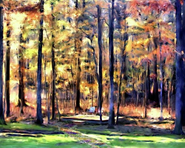 Forest Art Print featuring the digital art Forest Deck by Shirley Dawson