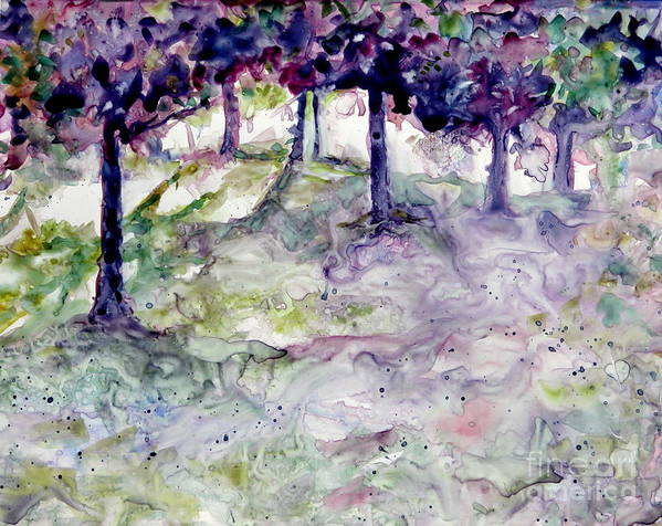 Fastasy Art Print featuring the painting Forest Fantasy by Jan Bennicoff