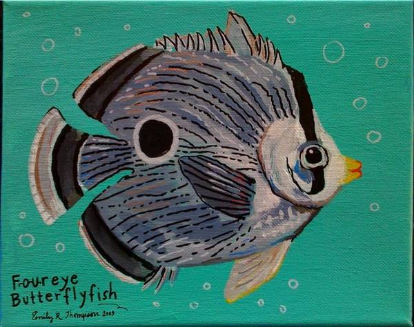 Fish Whimsical Animal Tropical Art Print featuring the painting Foureye Butterflyfish by Emily Reynolds Thompson