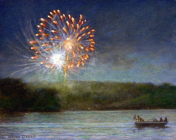 Fireworks Art Print featuring the painting Fourth Of July- Cazenovia Lake by Wayne Daniels