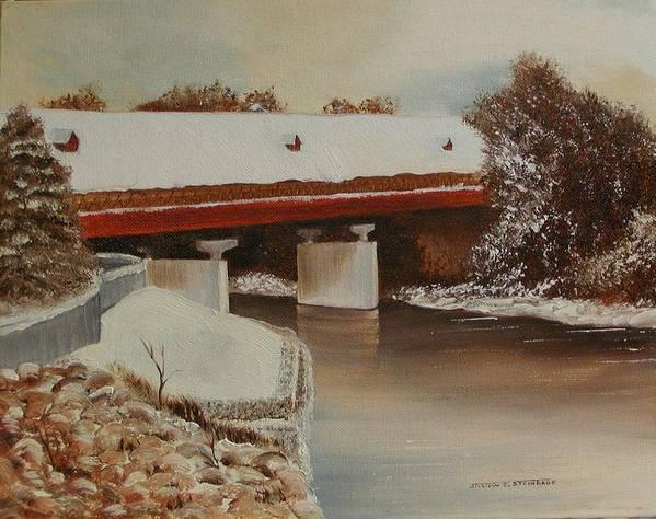 Original Oil Winter Landscape Art Print featuring the painting Frankenmuth Michigan by Sharon Steinhaus