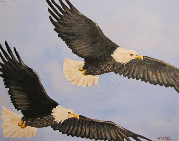 Eagle Art Print featuring the painting Freedom by Aleta Parks