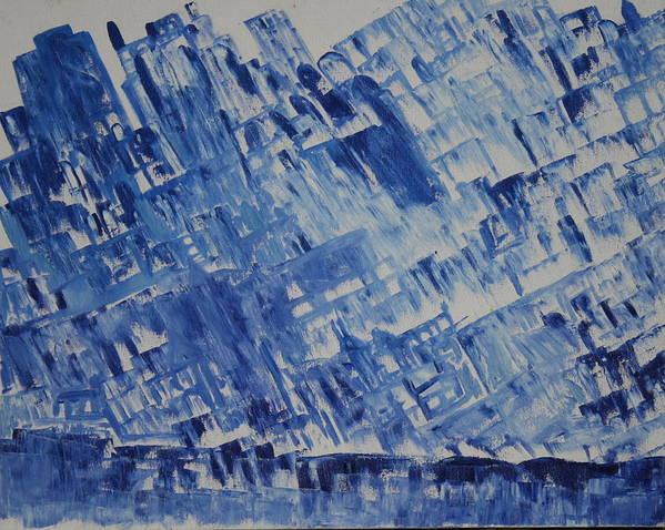 Art Print featuring the painting Frozen City by Prakash Bal Joshi