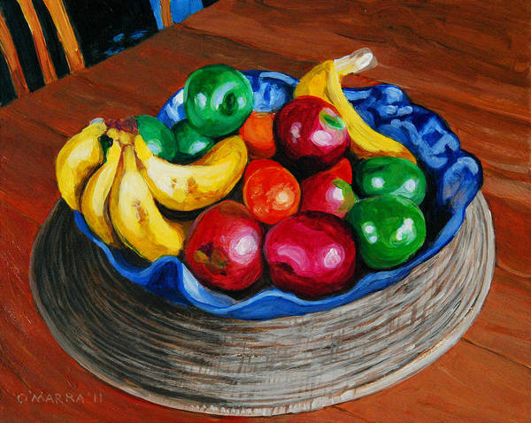 Fruit Art Print featuring the painting Fruit Bowl Still Life by Allan OMarra