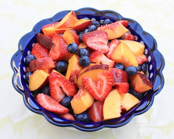 Food And Beverages Art Print featuring the photograph Fruit Salad In Blue Bowl by Carol Groenen