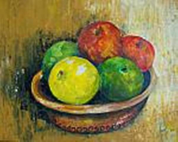 Apples And Oranges Art Print featuring the painting Frutas by Carol P Kingsley