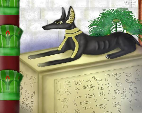 Heiroglyphs Art Print featuring the painting Funerary Anubis by Mike Sexton