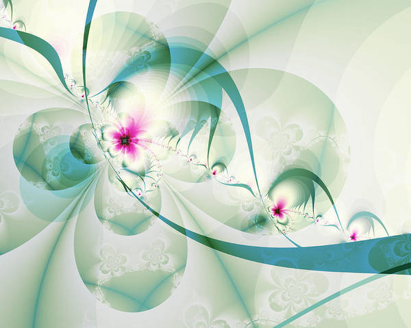 Fractal Art Print featuring the digital art Galactic Flower by Frederic Durville