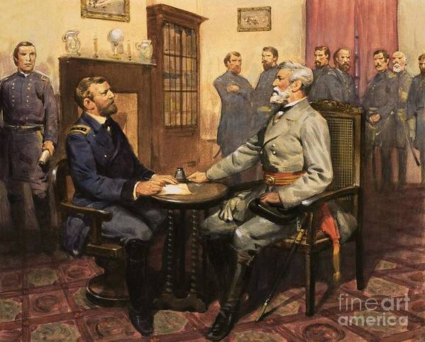 General Grant Meets Robert E. Lee By English School (20th Century) Great Commanders: Hero Of The Southland. General Grant Meets Robert E. Lee. America; Army; Soldiers; American; Flag; American Civil War; Robert E Lee; General Grant; Surrender; Confederate; Union; Us Print featuring the painting General Grant Meets Robert E Lee by English School