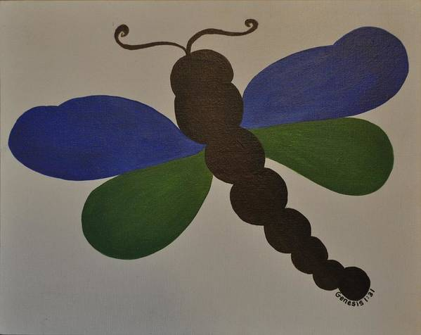 Dragonfly Art Print featuring the painting Gensis 1 Dragonfly by Ashlee Tolleson