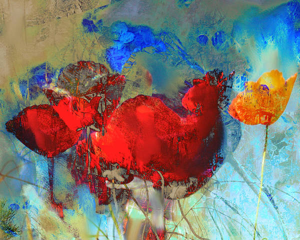 Flowers Art Print featuring the painting Gentle Poppies by Anne Weirich