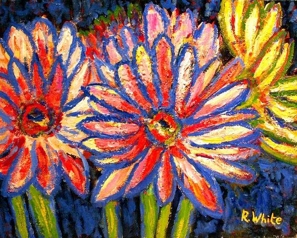 Flowers Art Print featuring the painting Gerberas Number Three by Rob White