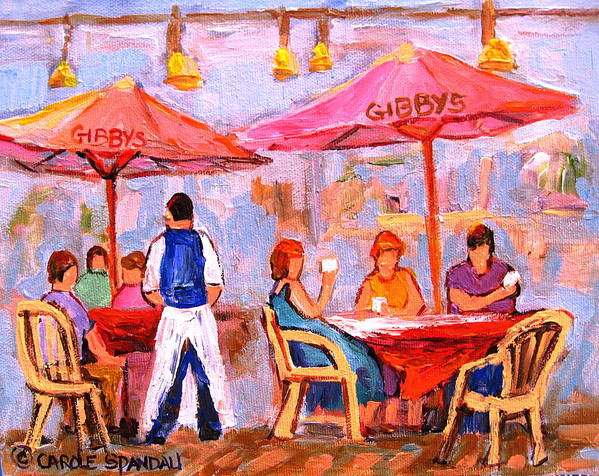 Gibbys Restaurant Montreal Street Scenes Art Print featuring the painting Gibbys Cafe by Carole Spandau