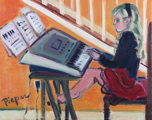 Girl With Piano Art Print featuring the painting Girl At Keyboard by Betty Pieper