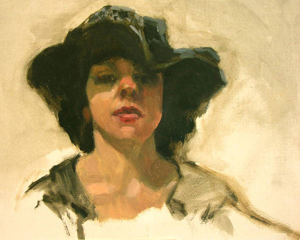 Portrait Art Print featuring the painting Girl In A Floppy Hat by Merle Keller