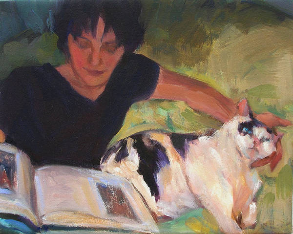 Woman Art Print featuring the painting Girl With Cat by Merle Keller